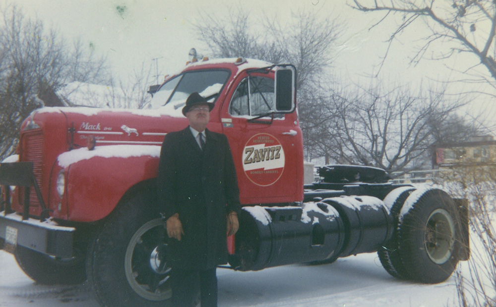 Gerald Zavitz With The First New Tractor He Purchased - 1965 B61 Mack (We still have it)